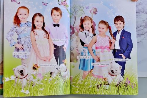 разворот выпускной книги полиграфия для детсада